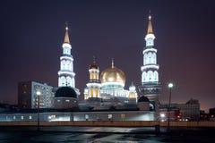 Mening over de Kathedraalmoskee van Moskou in de nacht Stock Fotografie