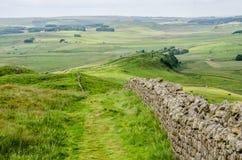 Mening over de Muur van Hadrian, Northumberland Stock Afbeelding