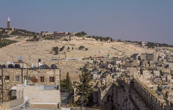 Mening over de oriëntatiepunten van Jeruzalem. Royalty-vrije Stock Foto's