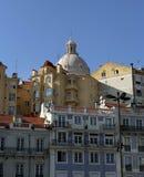 Mening over de oude stad van Lissabon Stock Foto