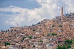 Mening over de oude stad van Mardin, Turkije stock afbeelding