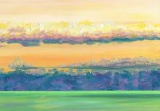 Mening over de overzeese horizon met zonsondergangwolken royalty-vrije stock foto's