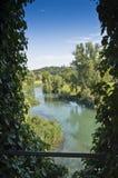 Mening over de rivier Mincio Stock Fotografie