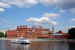 Mening over de rivier Moskou. Stock Fotografie