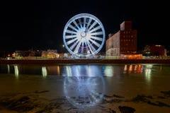 Mening over de rivier Motlawa de Oude Stad in Gdansk Royalty-vrije Stock Afbeeldingen