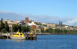 Mening over de rivier van de Jager, Newcastle Stock Foto's