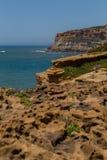 Mening over de rotsen van de kustlijn in oceaan Royalty-vrije Stock Afbeeldingen