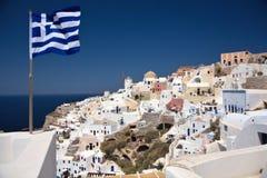 Mening over de stad Ia van Santorini. Stock Fotografie