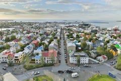 Mening over de stad Reykjavik. Stock Foto's