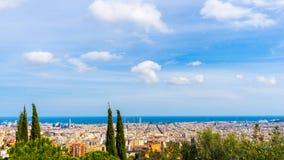Mening over de stad van Barcelona Stock Afbeeldingen