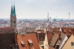 Mening over de stad van Nuremberg Stock Foto