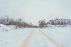 Mening over de winterweg royalty-vrije stock foto's