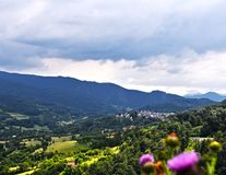 Mening over ` Drvengrad `, vilage op Mokra Gora, Servië stock afbeelding
