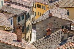 Mening over een klein dorp stock fotografie