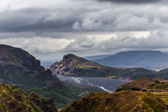 Mening over een Thorsmork-streek in IJsland stock foto