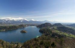 Mening over Eiland van Afgetapt, Slovenië Stock Fotografie