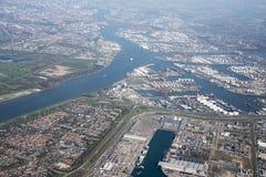 Mening over europort van vliegtuig Royalty-vrije Stock Foto