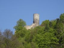 Mening over Frydstejn-kasteelruïne Royalty-vrije Stock Afbeelding