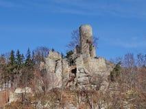 Mening over Frydstejn-kasteelruïne Stock Foto