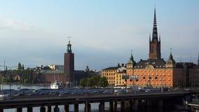 Mening over Gamla Stan in Stockholm Oude Stad zweden stock footage