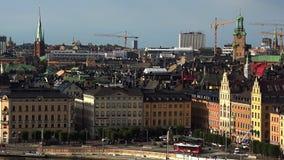 Mening over Gamla Stan in Stockholm Oude Stad zweden stock videobeelden