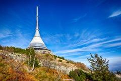 Mening over Gegekscheerde toren, Liberec, Tsjechische Republiek Royalty-vrije Stock Foto