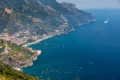 Mening over Golf van Salerno van Ravello, Campania, Italië Royalty-vrije Stock Afbeelding