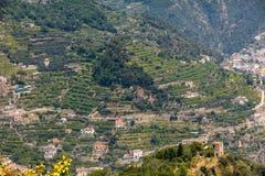 Mening over Golf van Salerno van Ravello, Campania, Italië Royalty-vrije Stock Foto's