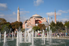 Mening over Haghia Sophia door fontein Stock Foto's