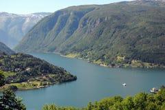 Mening over Hardangerfjord, Noorwegen Royalty-vrije Stock Afbeelding