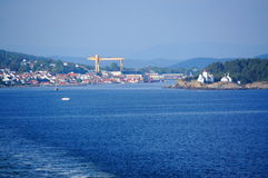 Mening over havenstad Langesund, Noorwegen Stock Afbeeldingen
