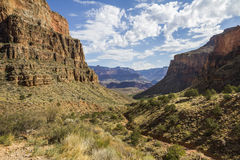 Mening over helder Angel Trail, Grand Canyon Royalty-vrije Stock Foto's