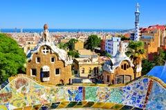 Mening over het artistieke Park Guell in Barcelona, Spanje stock fotografie