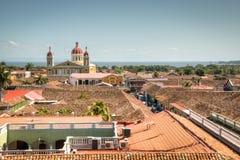 Mening over het historische centrum van Granada, Nicaragua Royalty-vrije Stock Foto's