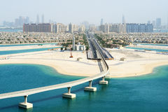 Mening over het kunstmatige eiland van de Palm Jumeirah Royalty-vrije Stock Afbeelding