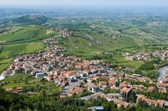 Mening over het landschap van Toscanië stock afbeelding