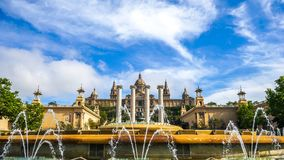 Mening over het Nationale Paleis in Barcelona Royalty-vrije Stock Foto