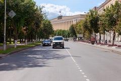 Mening over het regionaal bestuurgebouw in Novgorod stock foto's