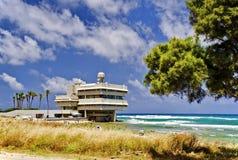 Mening over het strand dichtbij Haifa, Israël stock fotografie