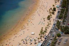 Mening over het strand van San Andreas, Tenerife, Spanje stock afbeelding