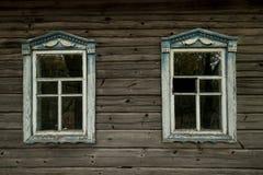 mening over het venster in binnenplaats in de streek van Tchernobyl royalty-vrije stock foto's