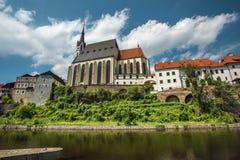 Mening over historisch centrum van Cesky Krumlov europa Royalty-vrije Stock Afbeeldingen