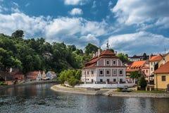 Mening over historisch centrum van Cesky Krumlov europa Royalty-vrije Stock Fotografie