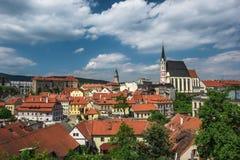 Mening over historisch centrum van Cesky Krumlov europa Stock Afbeelding