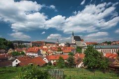 Mening over historisch centrum van Cesky Krumlov europa Royalty-vrije Stock Foto