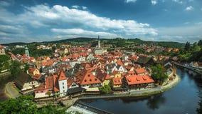 Mening over historisch centrum van Cesky Krumlov europa Royalty-vrije Stock Foto's