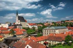 Mening over historisch centrum van Cesky Krumlov europa Stock Fotografie