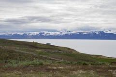 Mening over HusavÃk-baai in Noord-IJsland Royalty-vrije Stock Foto