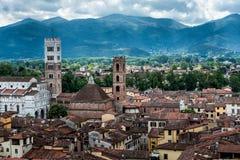 Mening over Italiaanse stad Luca Royalty-vrije Stock Foto's