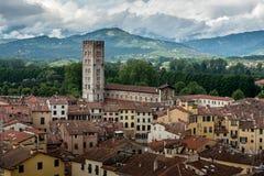 Mening over Italiaanse stad Luca Stock Fotografie
